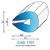 CAD1707N Profil EPDM   70 SH Noir