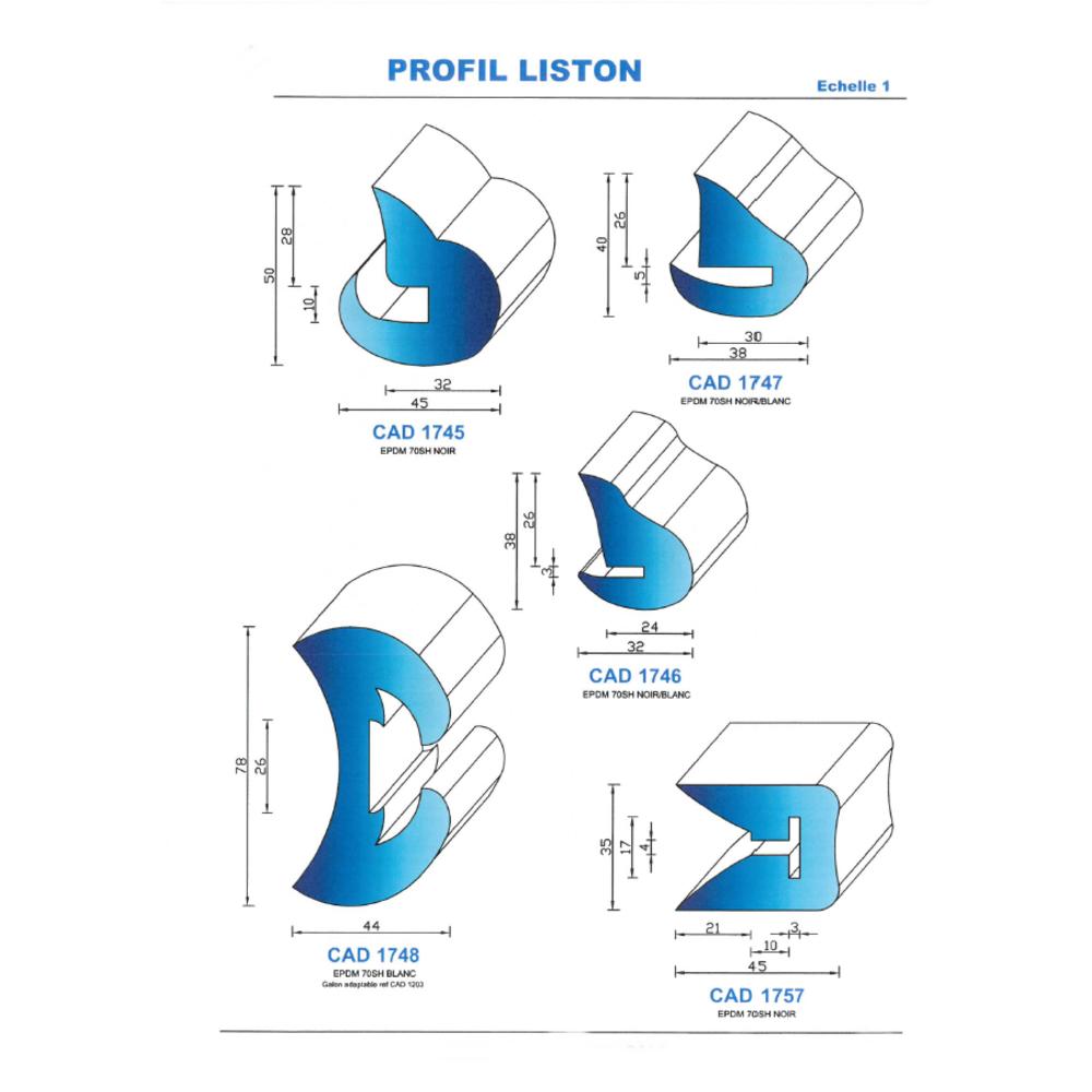 CAD1746C Profil EPDM   70 SH Couleur
