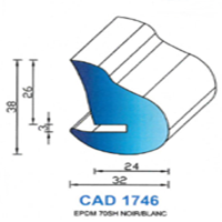 CAD1746N Profil EPDM   70 SH Noir