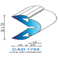CAD1760N Profil EPDM <br /> 70 SH Noir<br />