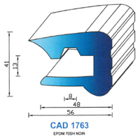 CAD1763N Profil EPDM   70 SH Noir