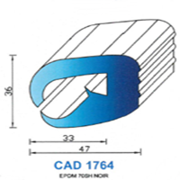 CAD1764N Profil EPDM   70 SH Noir