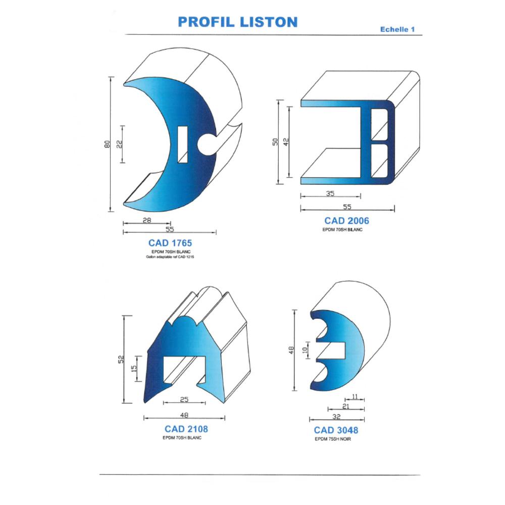 CAD1765B Profil EPDM   70 SH Blanc
