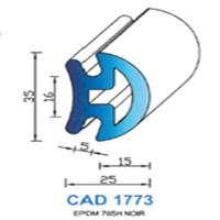 CAD1773N Profil EPDM   70 SH Noir