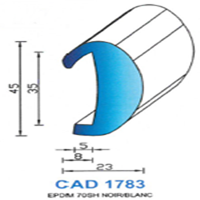 CAD1783B Profil EPDM   70 SH Blanc
