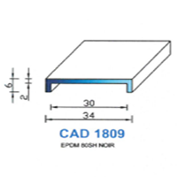 CAD1809N Profil EPDM <br /> 80 SH Noir<br />