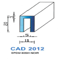 CAD2012N Profil EPDM   60 SH Noir
