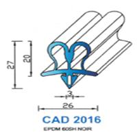 CAD2016N Profil EPDM <br /> 60 SH Noir<br />