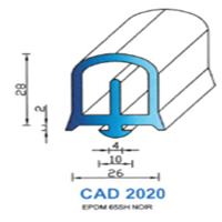 CAD2020N Profil EPDM <br /> 65 SH Noir<br />