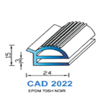 CAD2022N Profil EPDM <br /> 70 SH Noir<br />