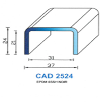 CAD2524N Profil EPDM   65 SH Noir