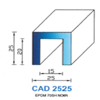 CAD2525B Profil EPDM   65 SH Blanc