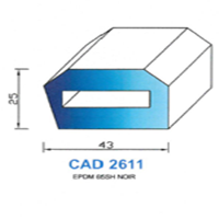 CAD2611N Profil EPDM   65 SH Noir