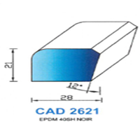 CAD2621N Profil EPDM   40 SH Noir