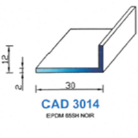 CAD3014N Profil EPDM <br /> 65 SH Noir<br />