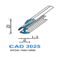 CAD3025G Profil EPDM <br /> 70 SH Gris <br /> Vendu au Mètre<br />