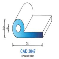 CAD3047N Profil EPDM   60 SH Noir