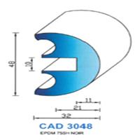 CAD3048N Profil EPDM   75 SH Noir