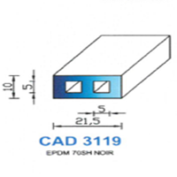 CAD3119N Profil EPDM   70 SH Noir   Vendu au Mètre