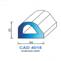 CAD4018N Profil EPDM   60 SH Noir