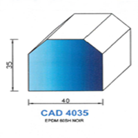 CAD4035N Profil EPDM   60 SH Noir