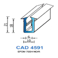 CAD4591N Profil EPDM   70 SH Noir