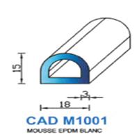 CADM1001B Profil Mousse EPDM <br /> Blanc<br />