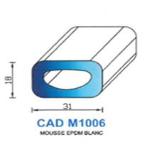 CADM1006B Profil Mousse EPDM   Blanc