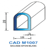CADM1007B Profil Mousse EPDM   Blanc
