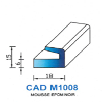 CADM1008N Profil Mousse EPDM <br /> Noir<br />