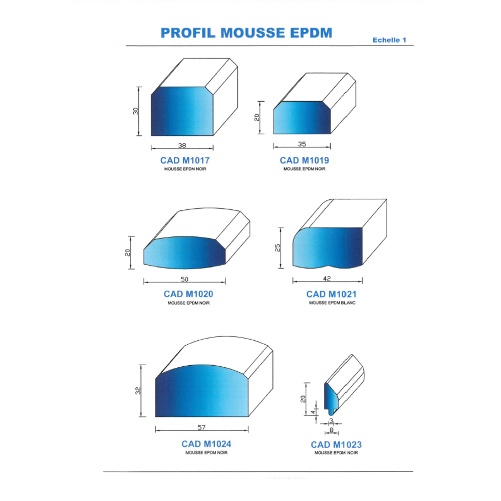 CADM1024N PROFIL MOUSSE EPDM - NOIR