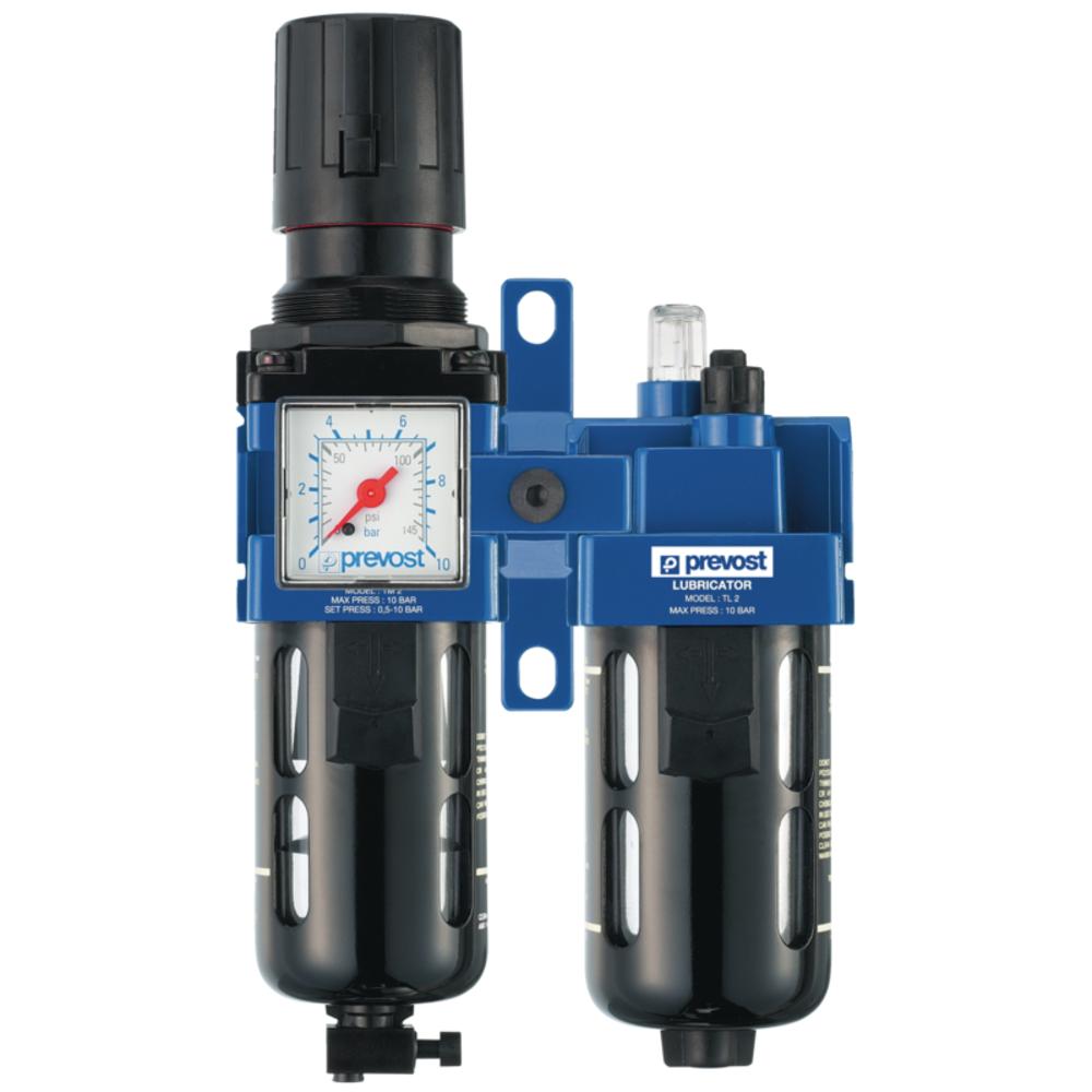 Filtre Régulateur Lubrificateur 2 blocs   Manomètre + Fixation