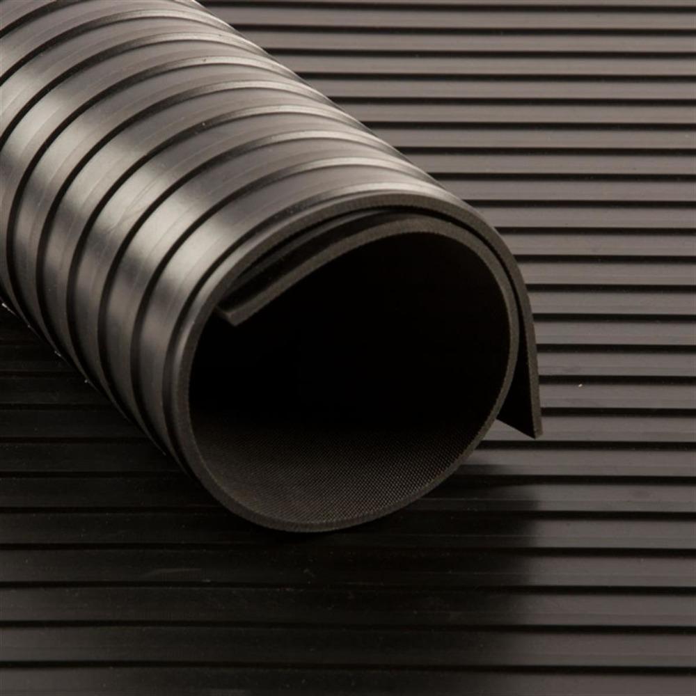 Tapis CANNELE cc Noir   [EP 6 mm]   1 Mètre Linéaire = 1,2 m²
